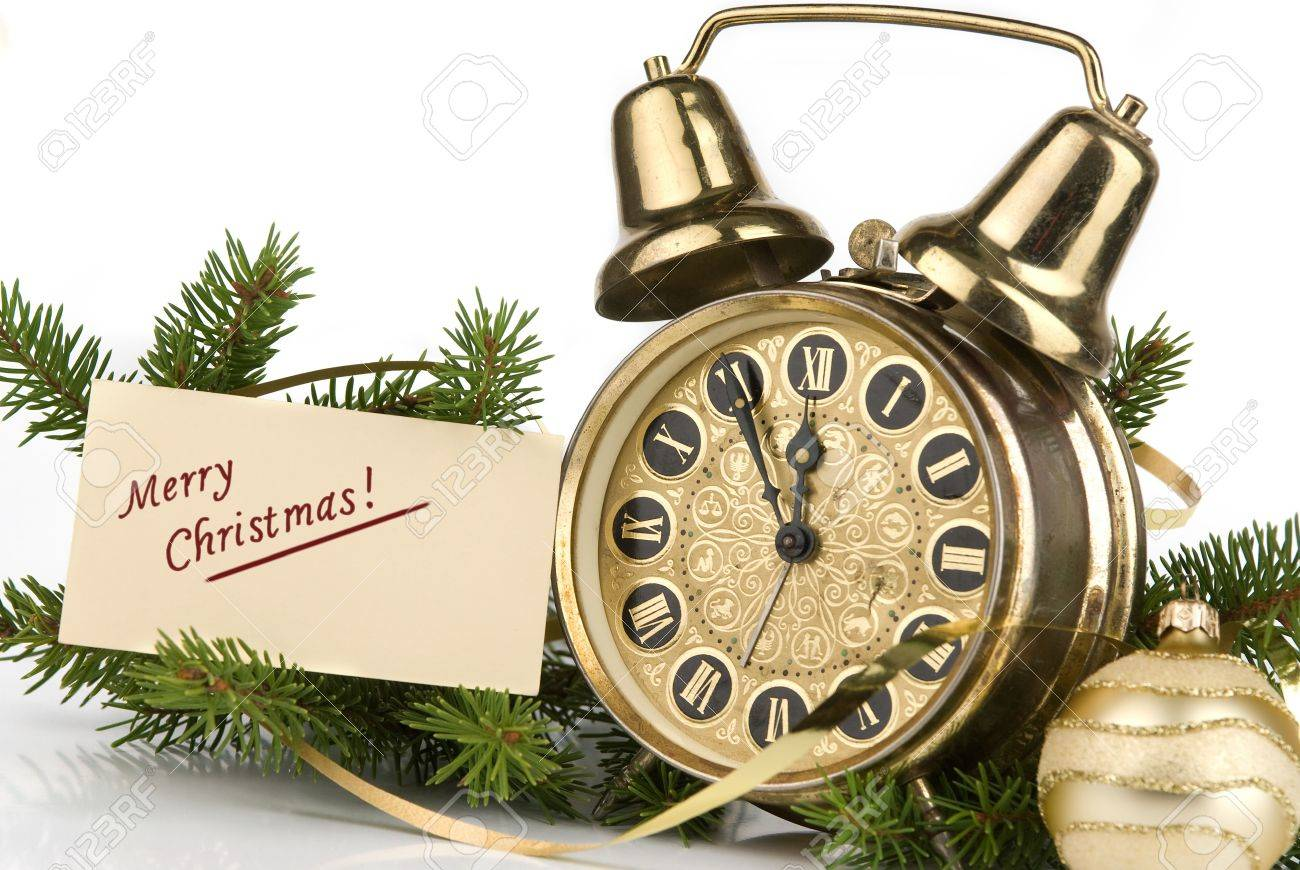 Christmas decoration. Merry Christmas card and antique clock Stock Photo - 5892518