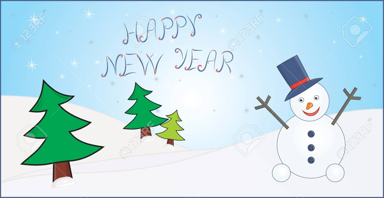 new year greeting card with trees and snowman Stock Vector - 6075282