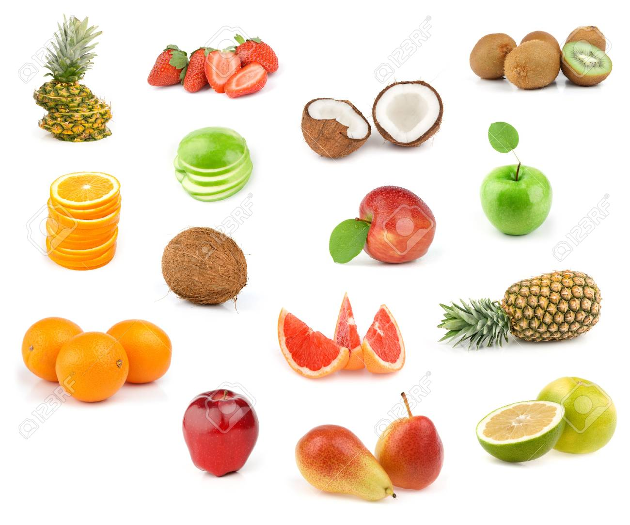fruits collection isolated on white background Stock Photo - 7163297