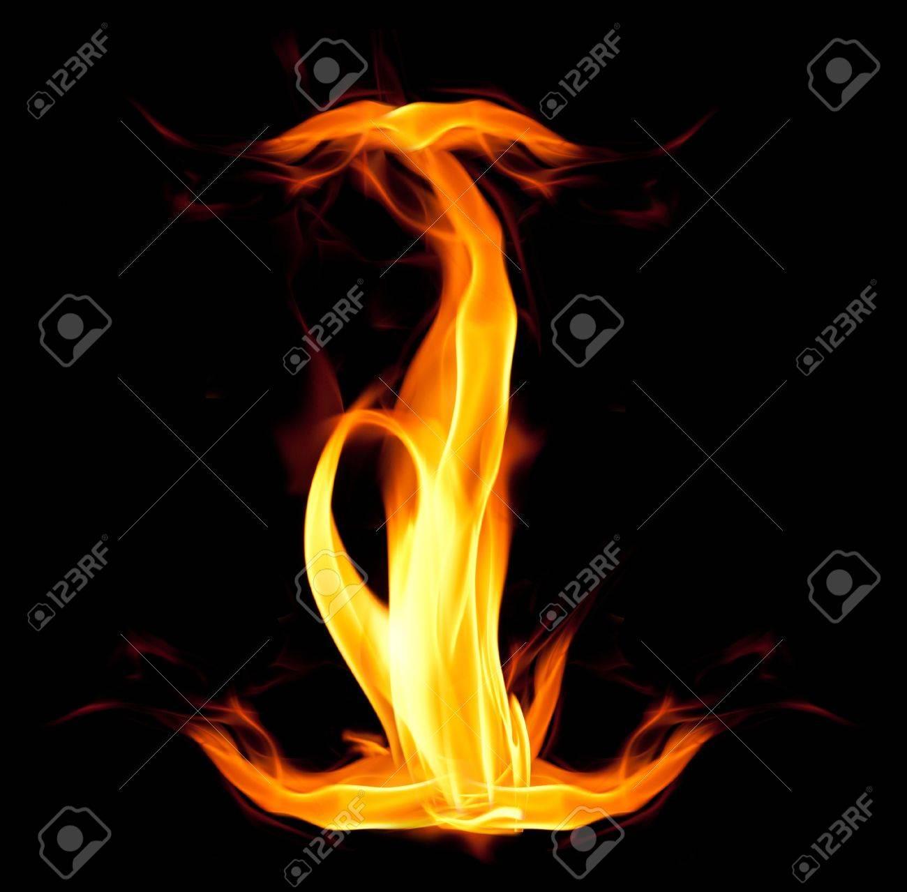 Fiery font. Letter I Stock Photo - 7679641