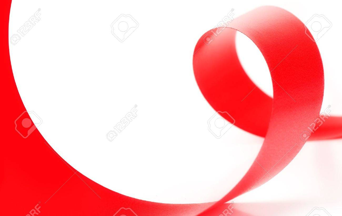 Red ribbon on white background Stock Photo - 8036568