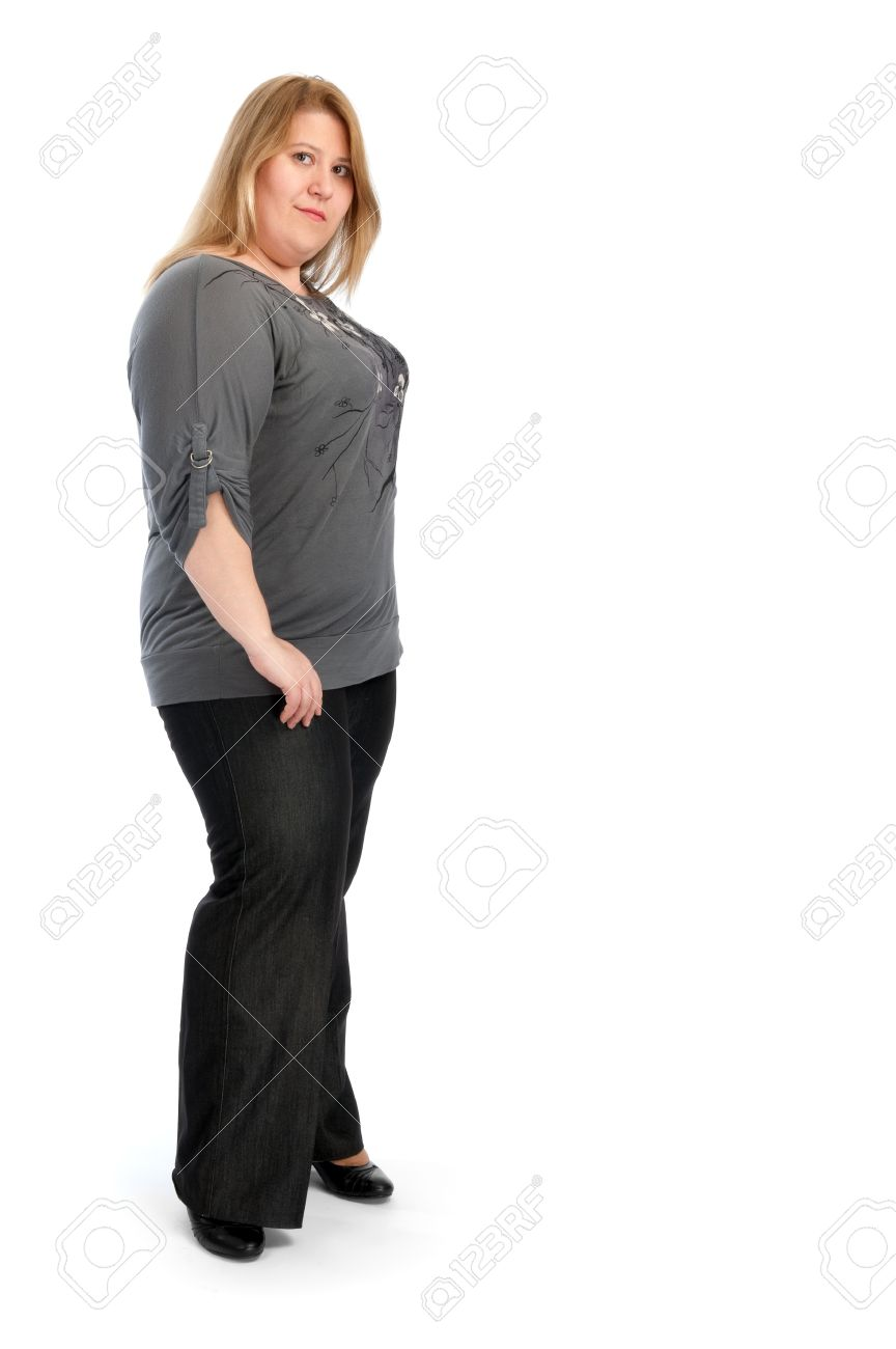 young fat woman isolated on white stock photo, picture and royalty