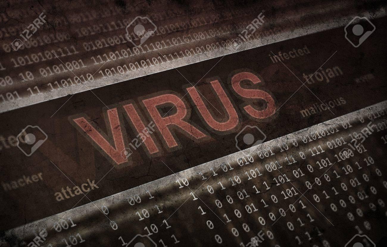 computer virus detection  Spyware concept  Grunge background