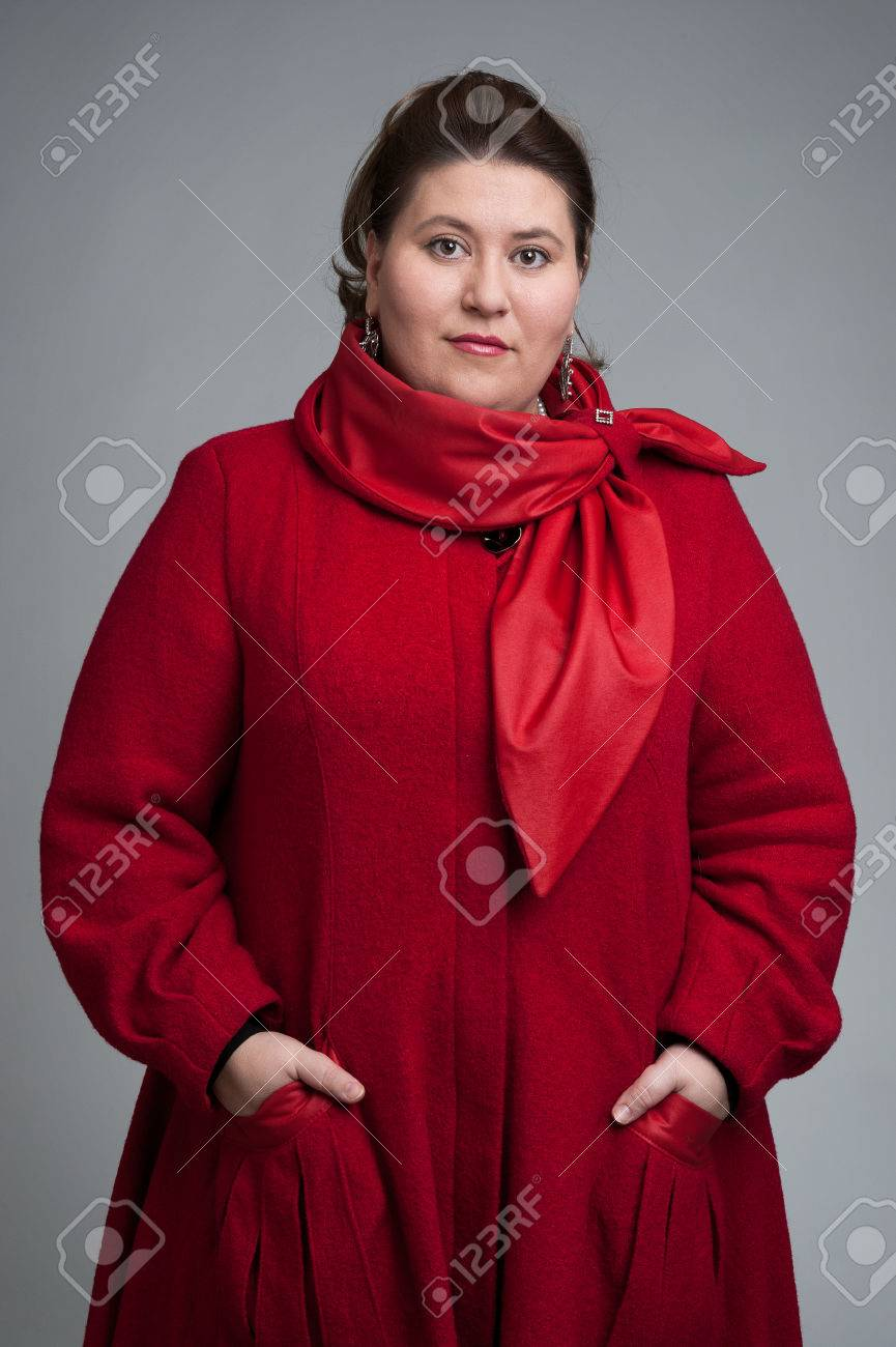 Fat Woman In Red Coat Stock Photo Picture And Royalty Free Image