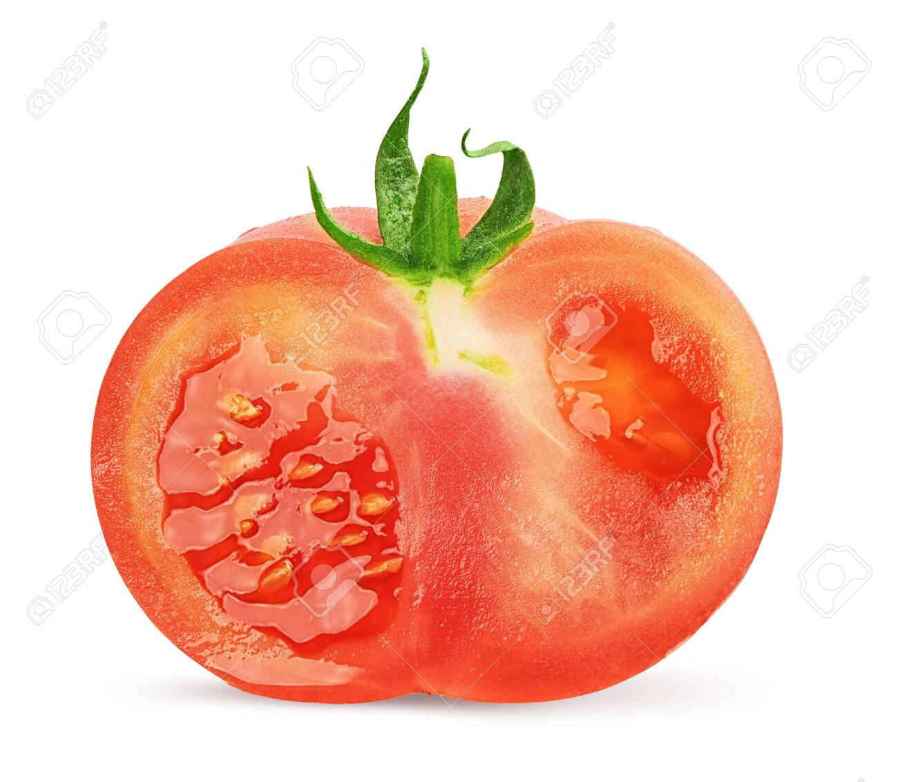 half tomato isolated on white background with clipping path. - 148361881