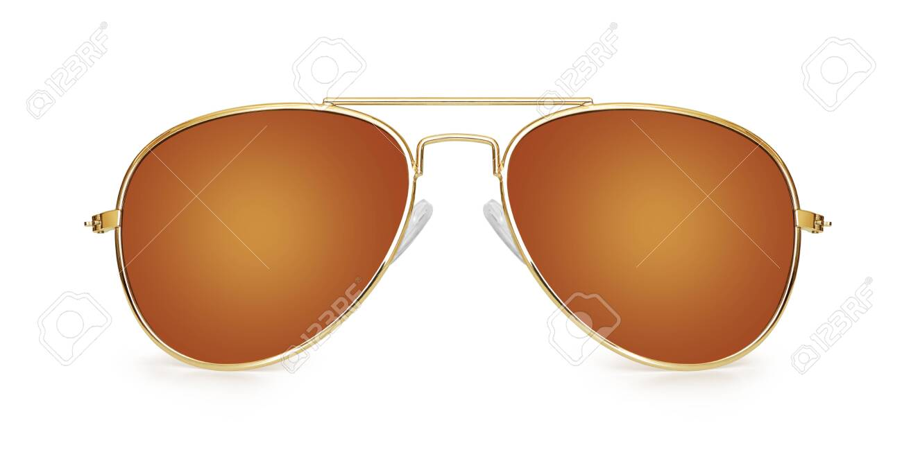 brown aviator sunglasses isolated on white background - 154592000