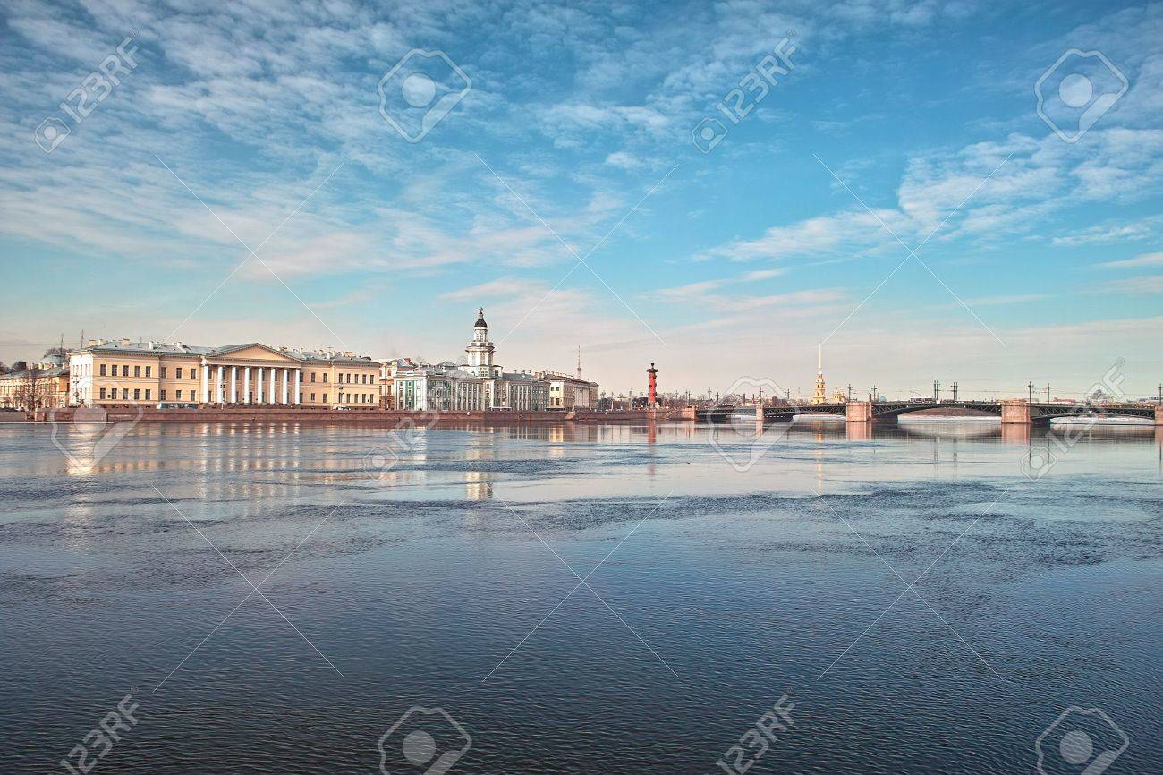 18th century buildings across the Neva river University quay in Saint Petersburg Stock Photo - 4636739