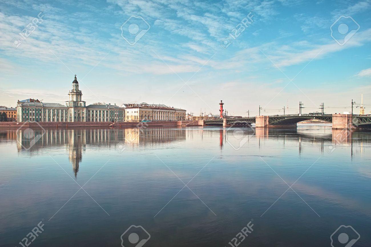 18th century buildings across the Neva river University quay in Saint Petersburg Stock Photo - 4636735