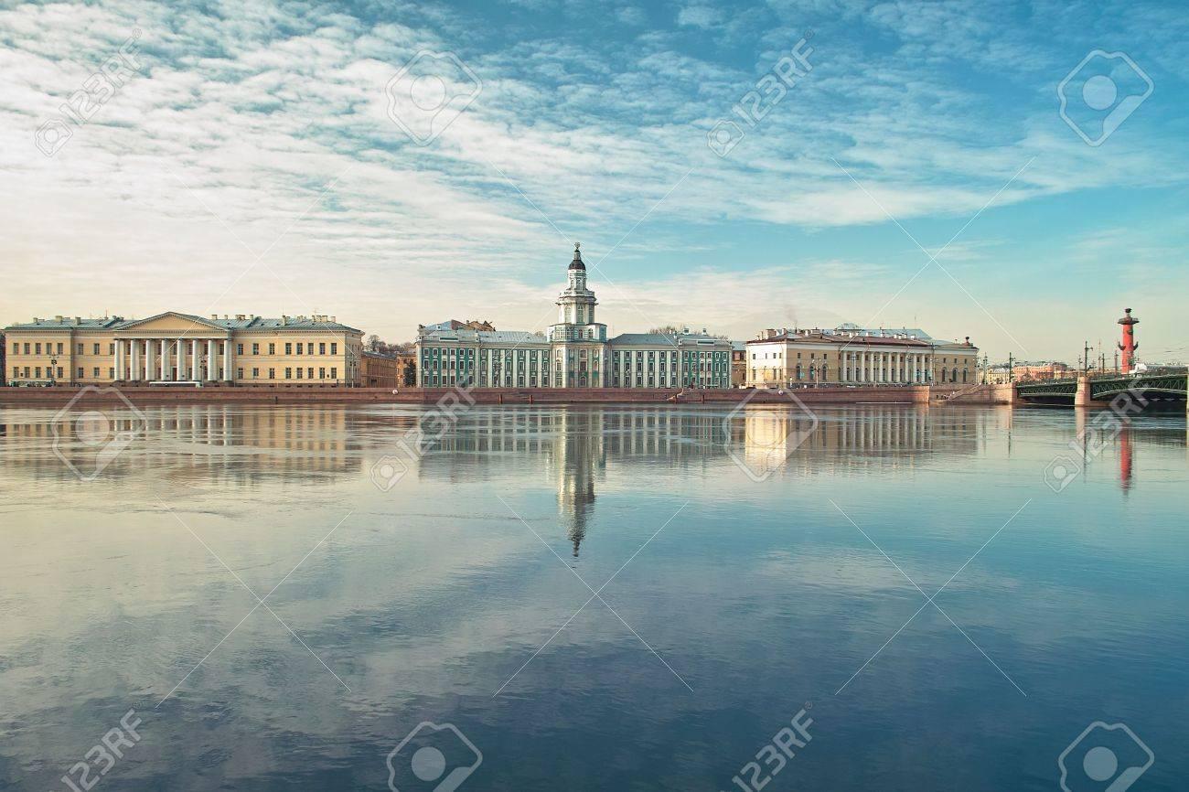 18th century buildings across the Neva river University quay in Saint Petersburg Stock Photo - 4636737
