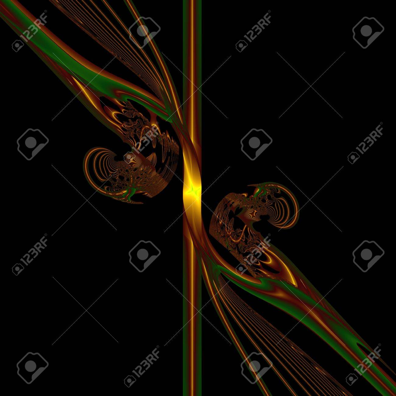 Magic staff. Gold metal staff rich in ornament, computer-generated image on black background Stock Photo - 5099635