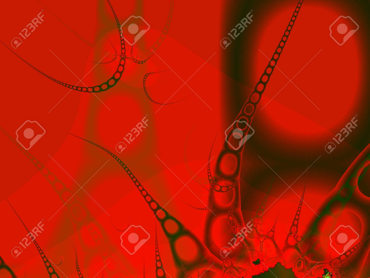 Strange being of chain form on red background. Computer-generated image Stock Photo - 5136529