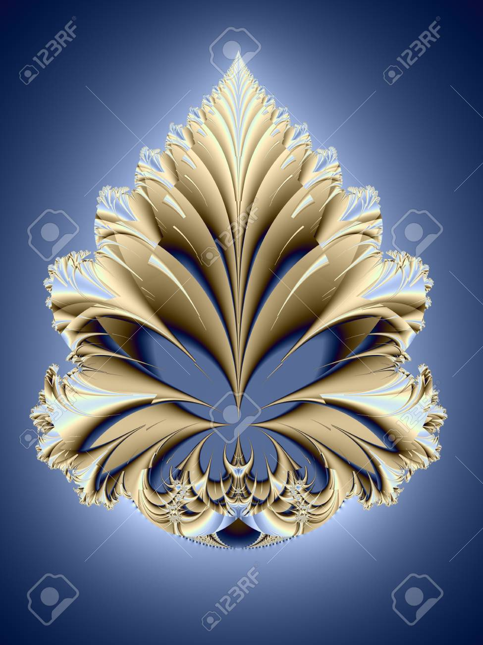 Fairy flower. Carved fantastic leaf on blue background. Computer-generated image Stock Photo - 5384333
