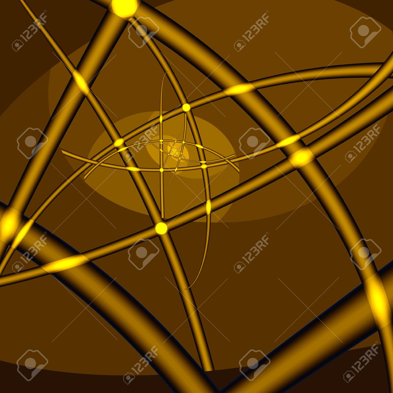 Golden infinity. Yellow crossed lines and dots on brown background. Computer-generated image Stock Photo - 5384332