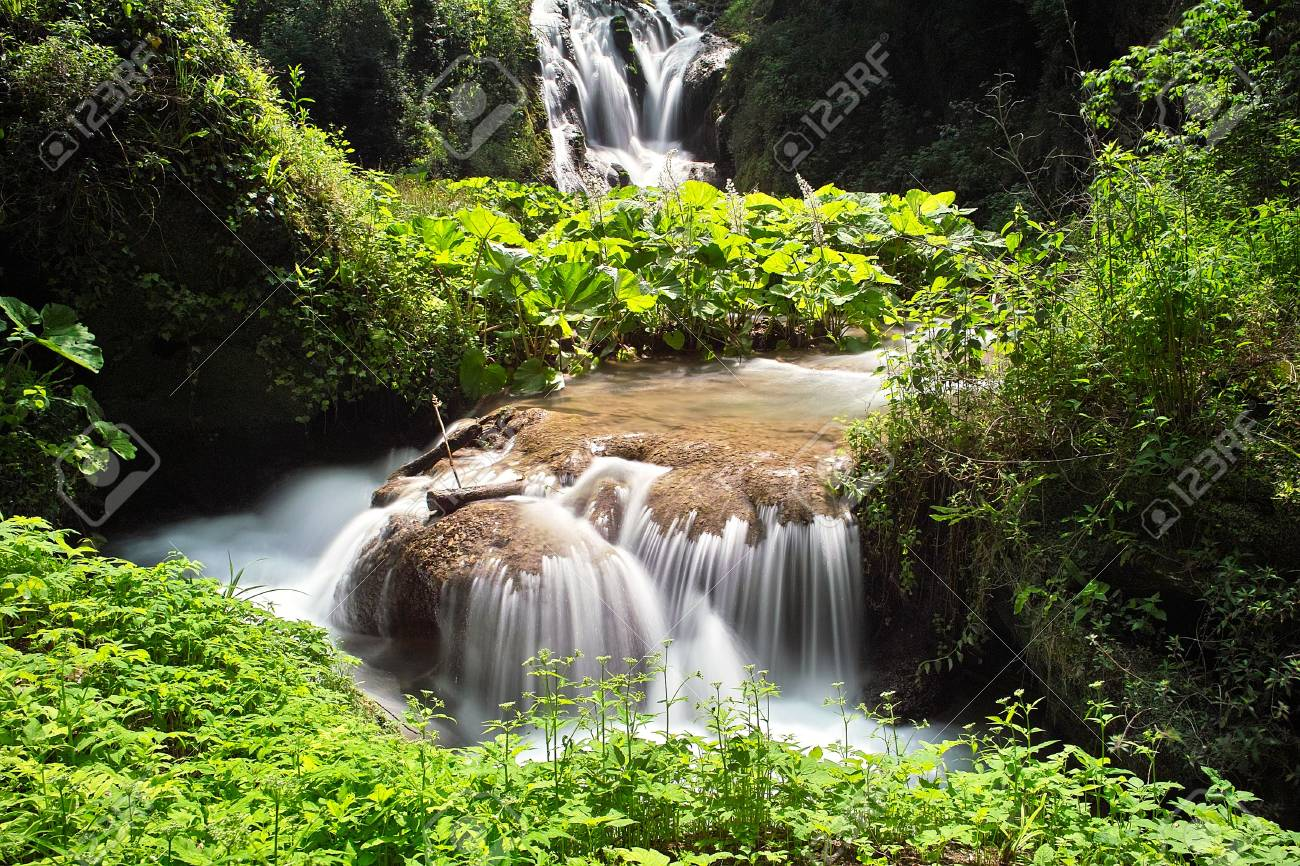 Small waterfall in the mountain stream Stock Photo - 7502108