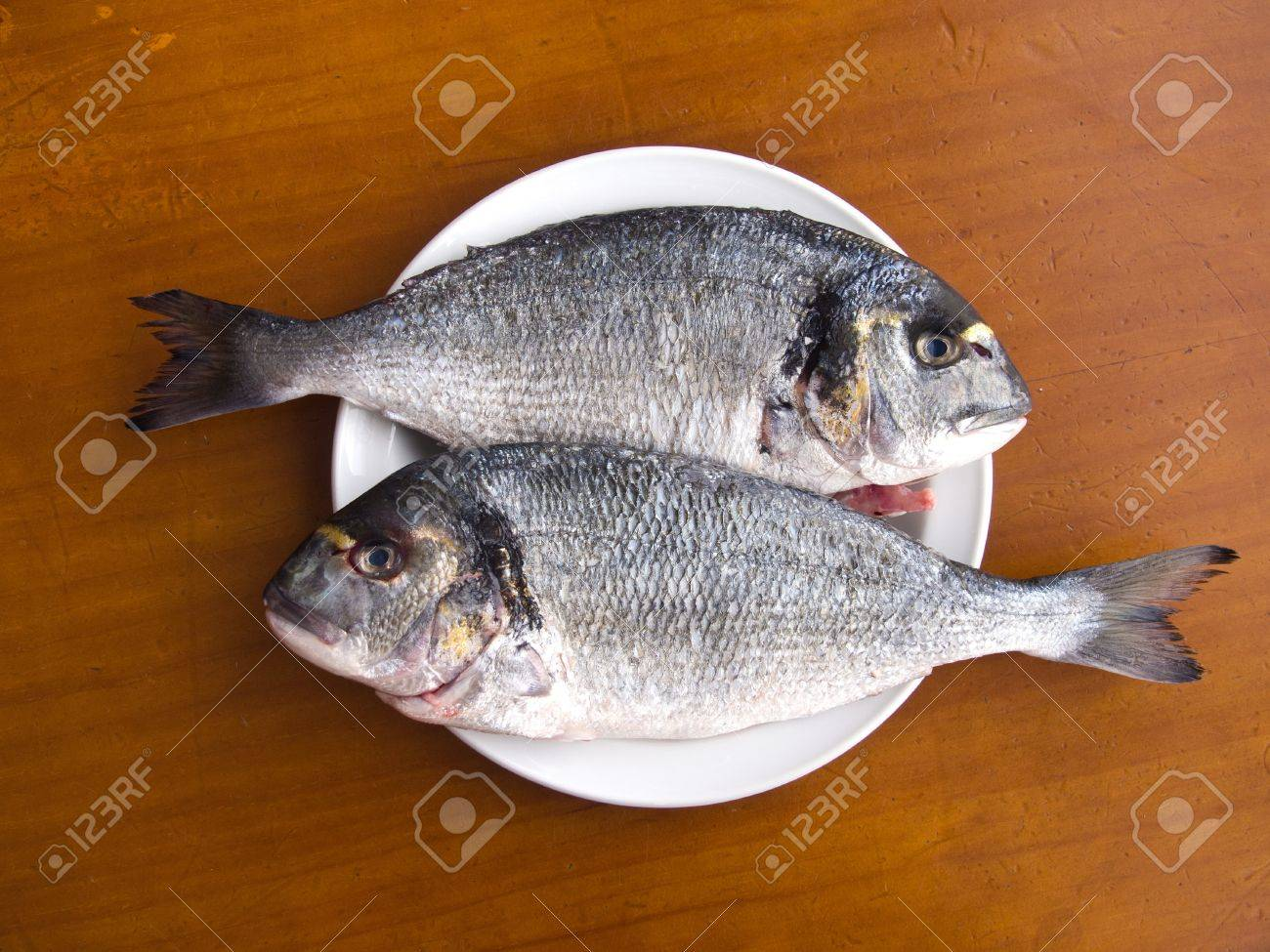 Two scaled gilt-head bream fishes on the white plate, ready for cooking Stock Photo - 9688245