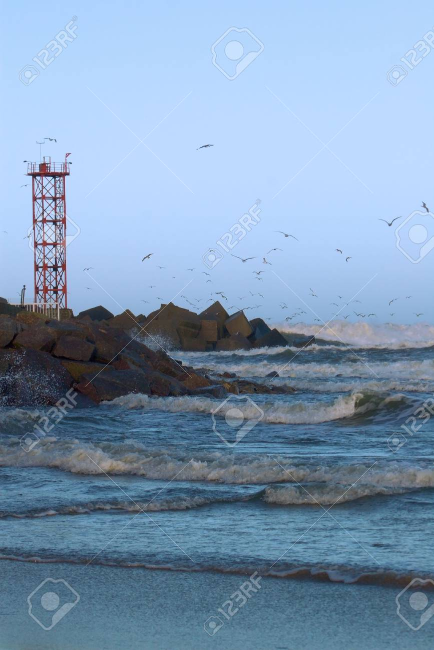 stormy sea at the entrance to Klaipeda port Stock Photo - 2942504