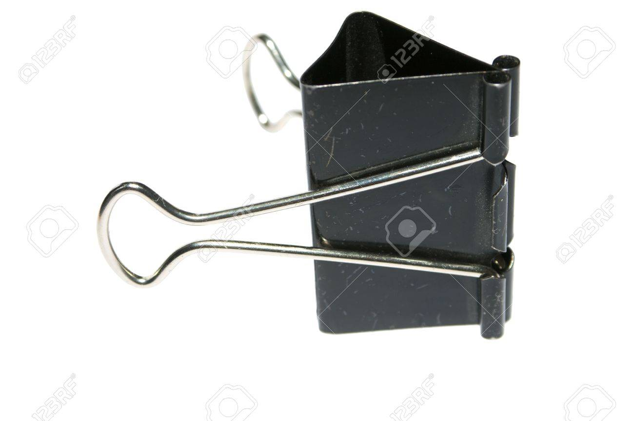 black used  paper binder clip isolated on white Stock Photo - 6119216
