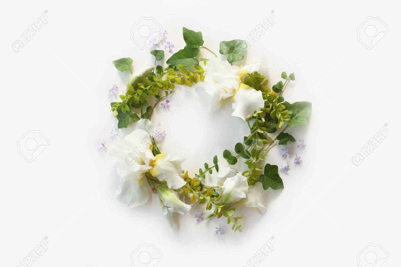 Wedding Concept Floral Frame With Iris White Flowers Buds Stock