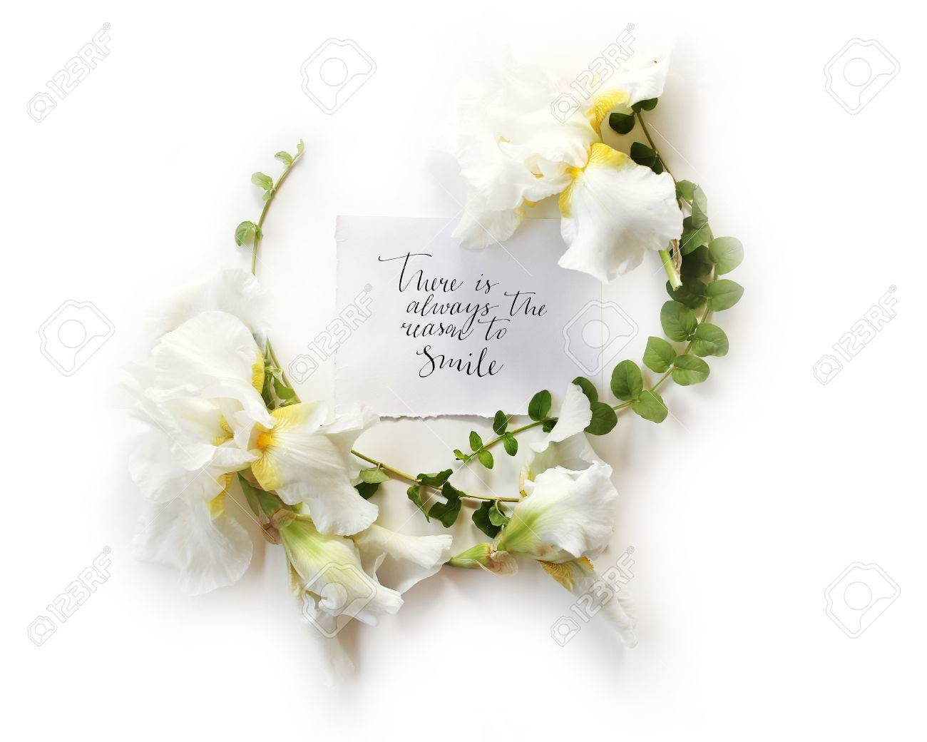Floral Frame Wreath Made Of Fresh Iris White Flowers And Green