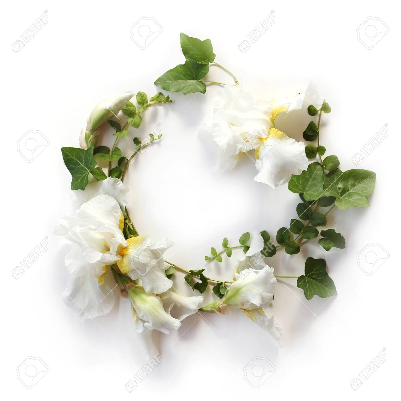 Fresh Holiday Floral Frame Made Of Iris White Flowers Buds And