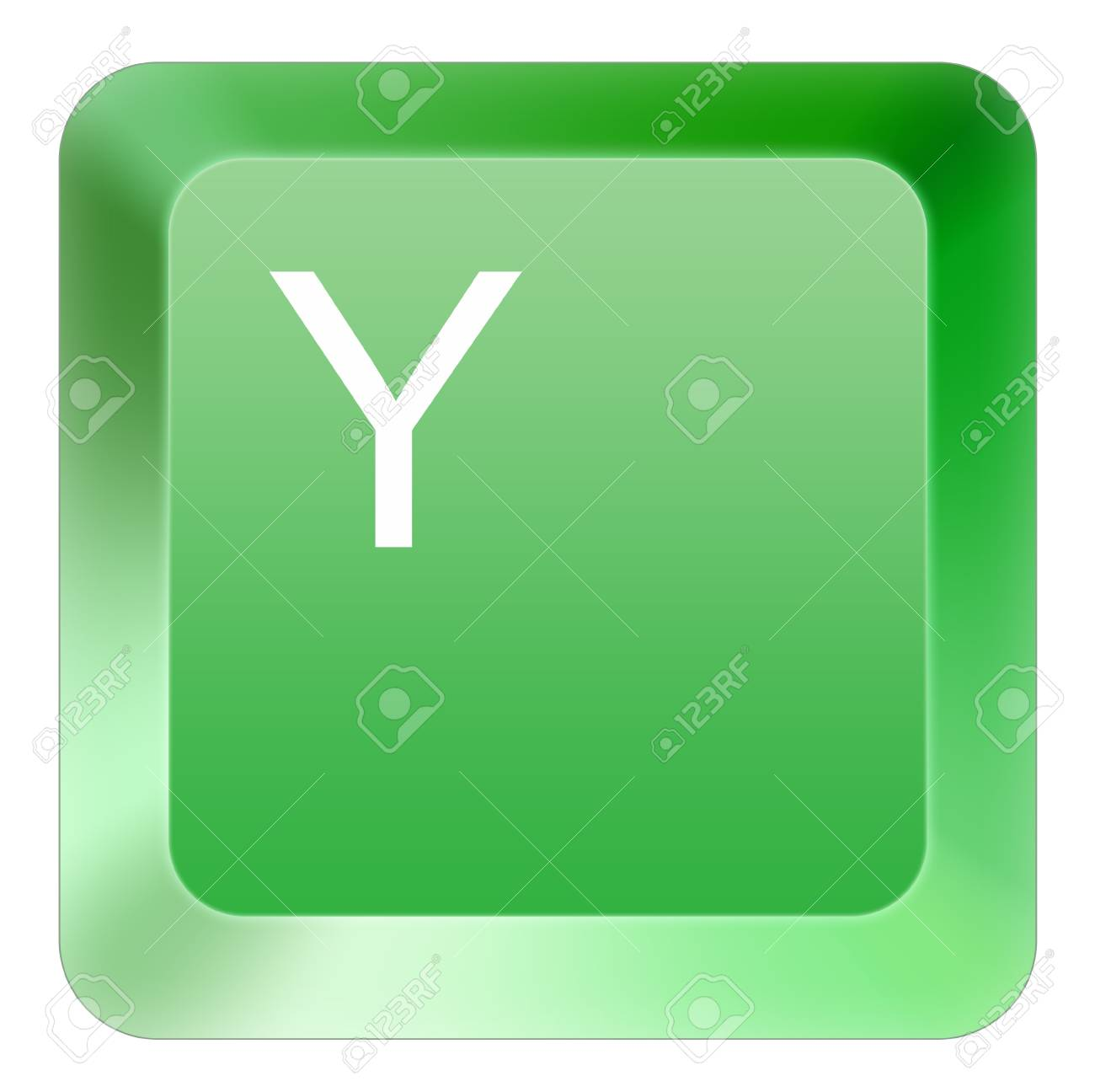 keyboard Y button green Stock Photo - 16514410
