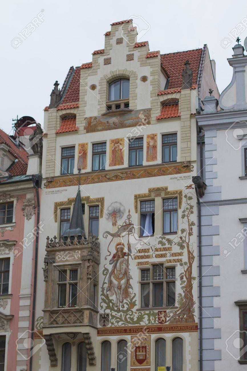Aussenansicht Gemälde Von Historischen Häusern In Prag In Der ...