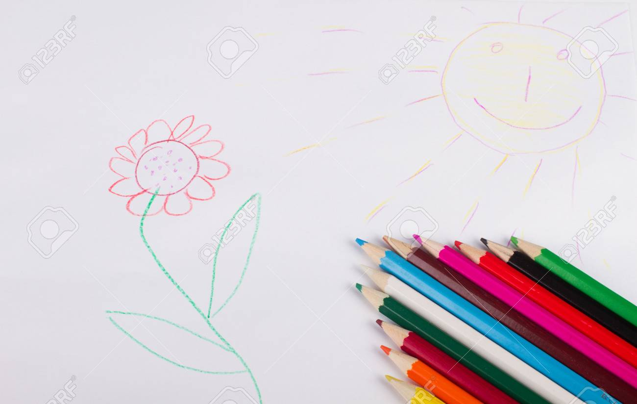 Background with child's drawing and pencils Stock Photo - 7235202
