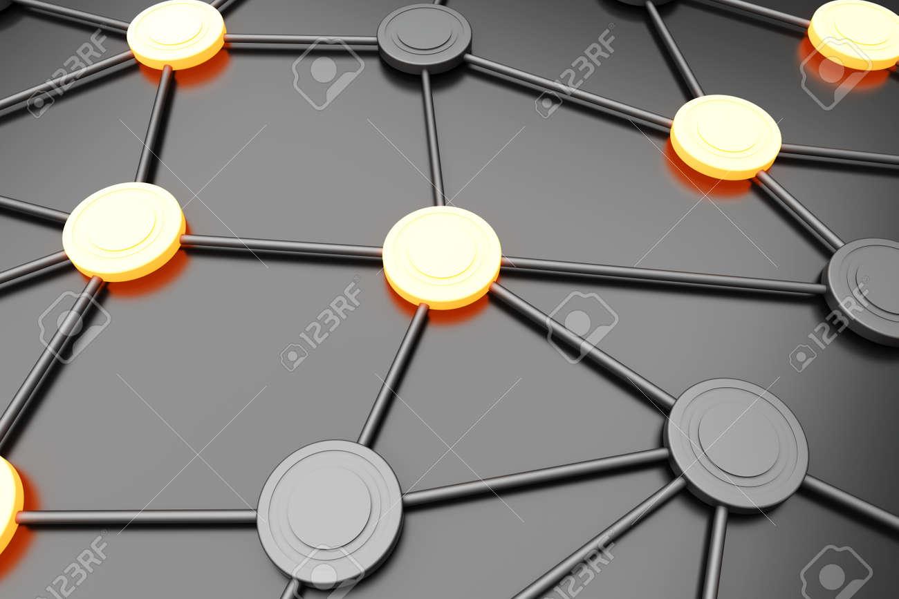Activated network nodes. 3D rendered Illustration. Stock Illustration - 9279784