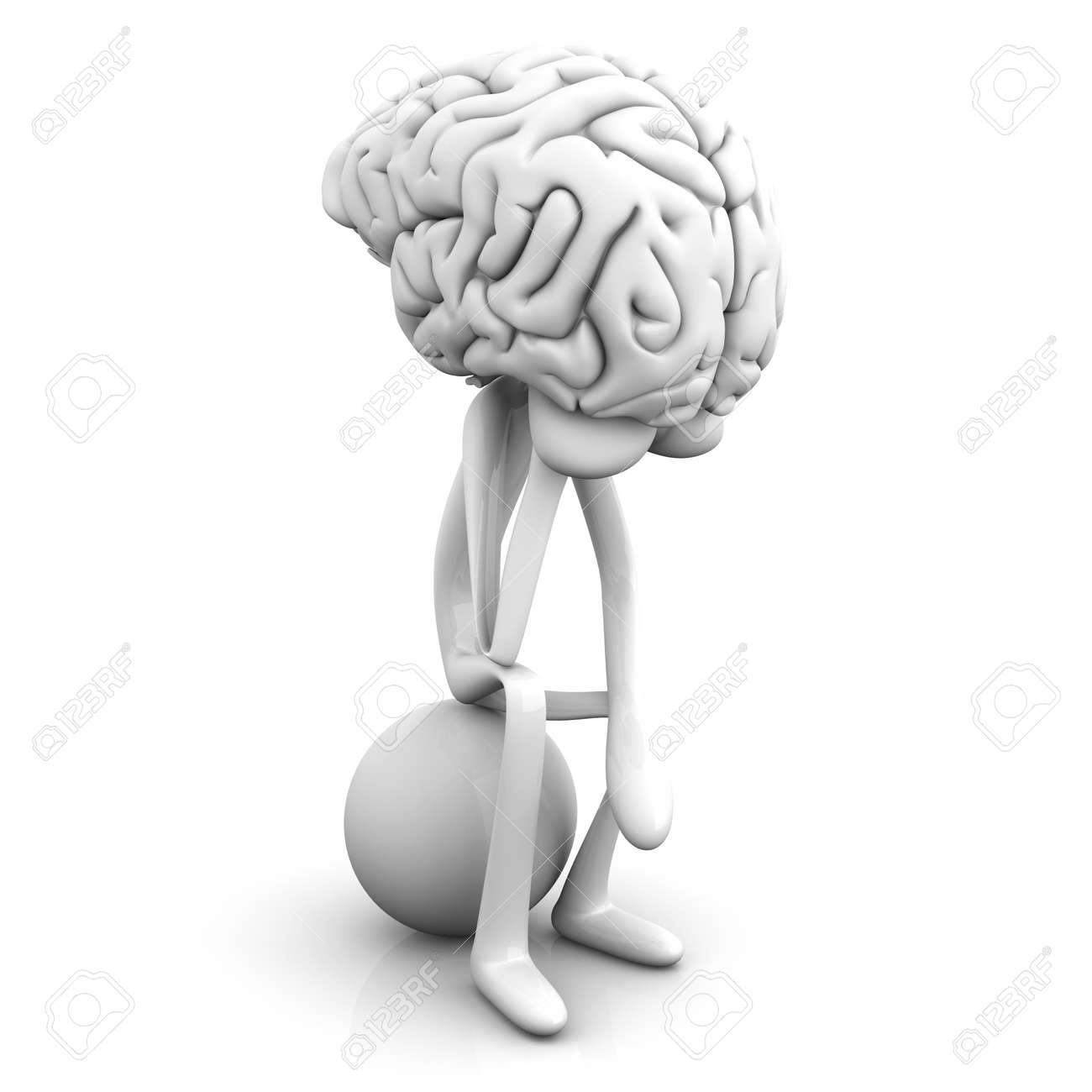 A cartoon figure con a huge brain. 3D rendered illustration. Isolated on white. Stock Photo - 11927478
