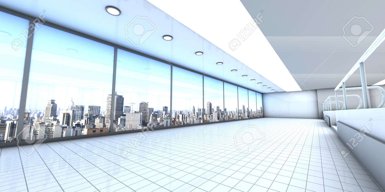 A empty office with the Skyline of Sao Paulo, Brazil, in the Background. Architectural visualisation. 3D rendered Illustration. Stock Illustration - 12108305