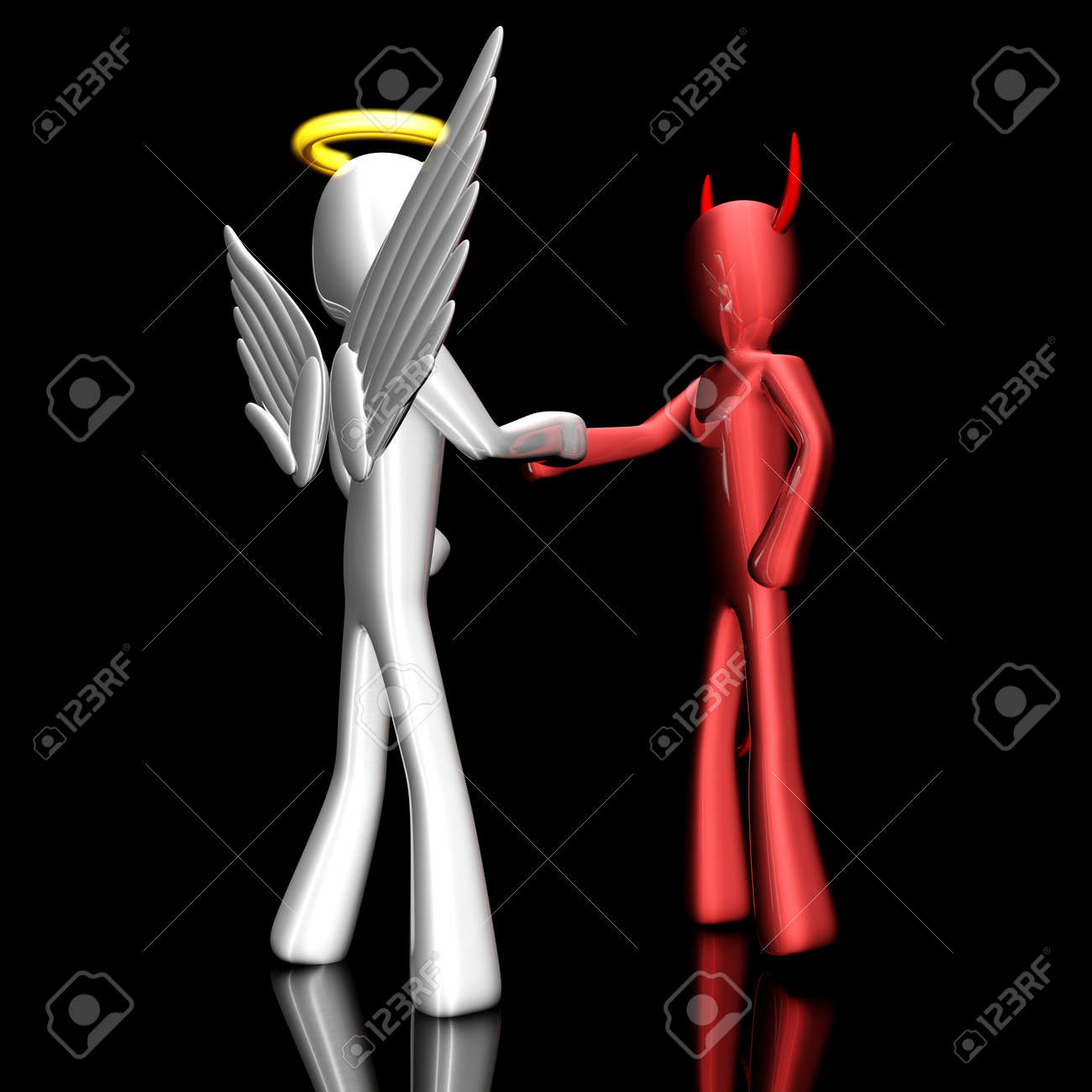 A cartoon Angel and Devil handshaking on a agreement Stock Photo - 13223622