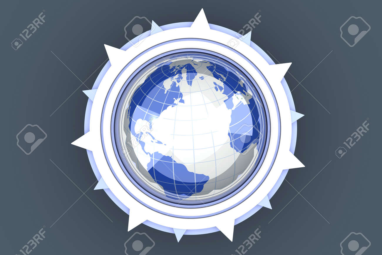 A global compass symbol  3D rendered Illustration Stock Photo - 13223619