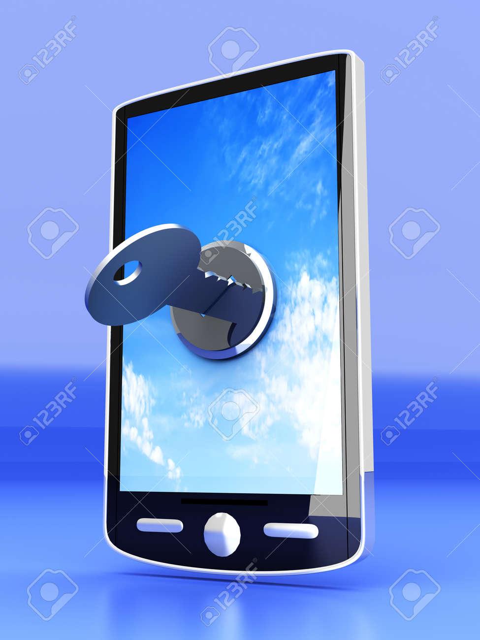 A locked smartphone  3D rendered illustration Stock Illustration - 14984319