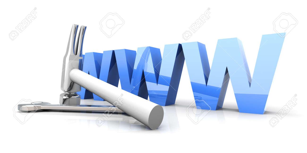 3D Illustration  Website is under construction  Isolated on white Stock Illustration - 15556602