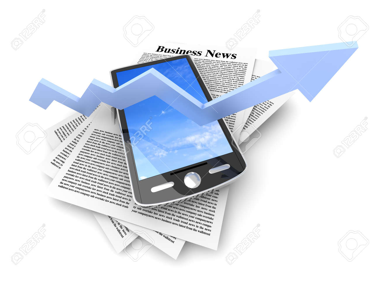 A smartphone in the latest business news  3d rendered Illustration  Isolated on white Stock Illustration - 15952712