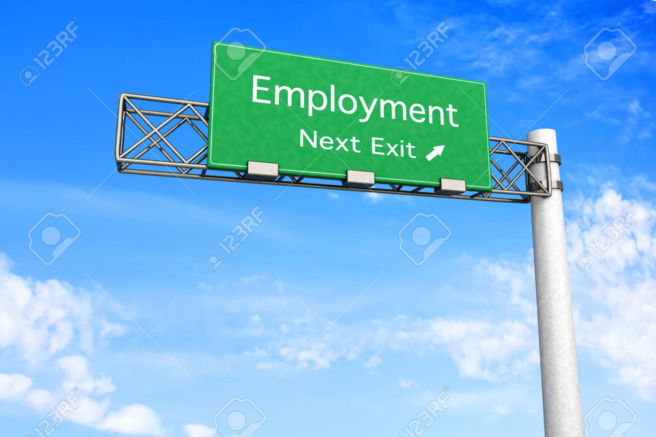 3D rendered Illustration  Highway Sign next exit to employment Stock Illustration - 16834750