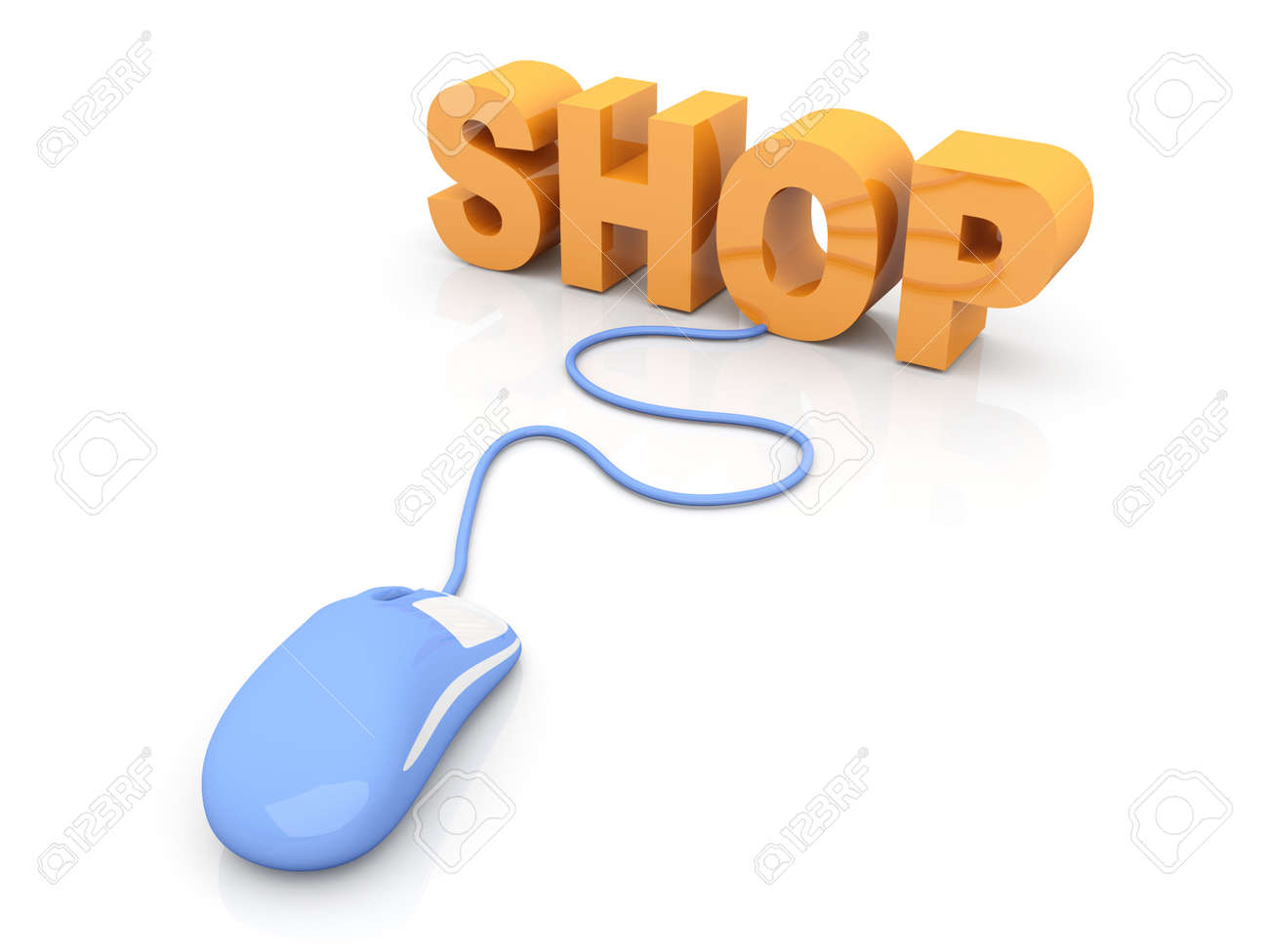 Buy at the Online shop. 3D rendered Illustration. Isolated on white. Stock Photo - 17322940