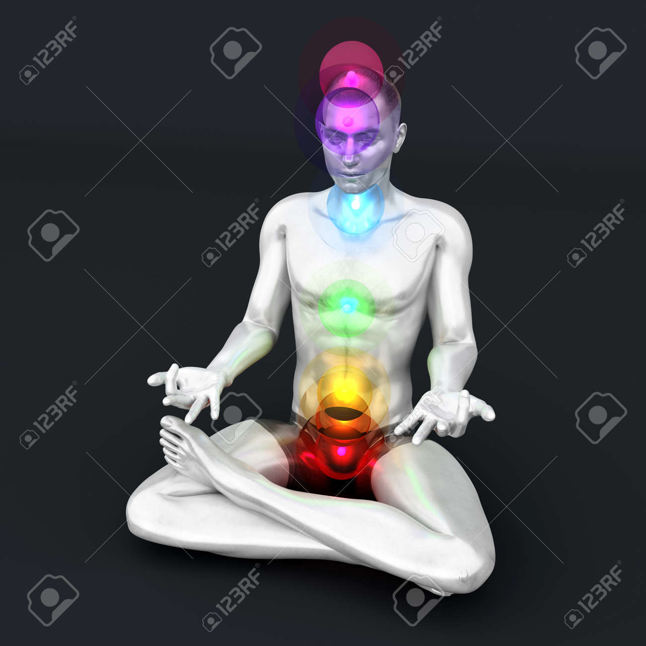 A woman performing a full chakra meditation. 3D rendered illustration. Stock Photo - 17322736