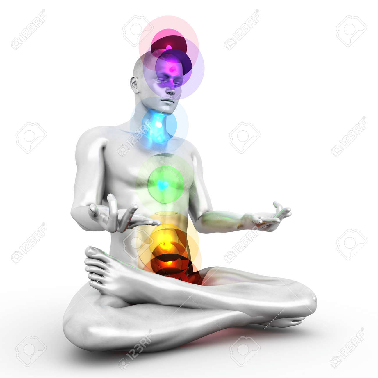A woman performing a full chakra meditation. 3D rendered illustration. Stock Photo - 20568192