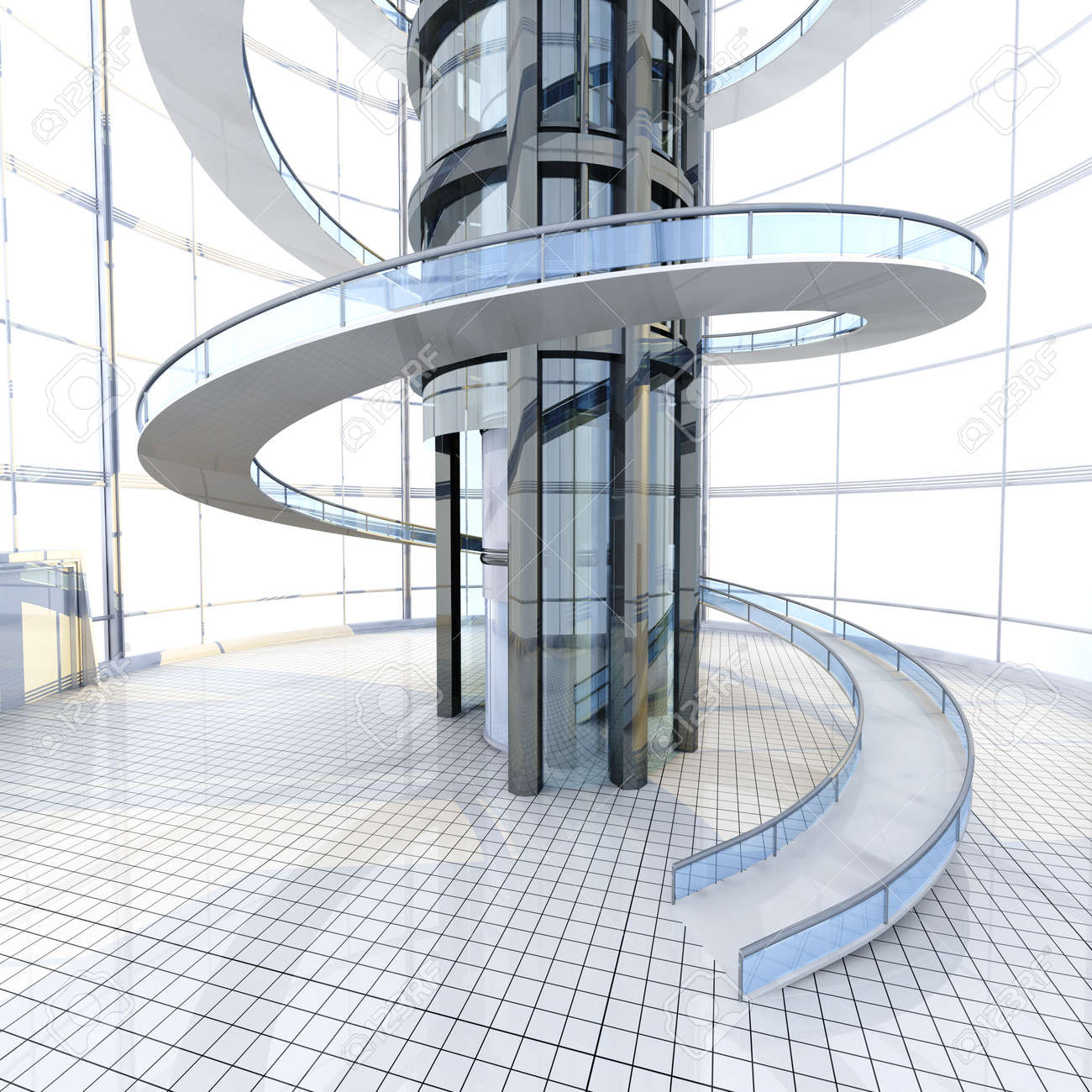Science fiction architektur visualisierung 3d gerendert illustration lizenzfreie bilder 21159265