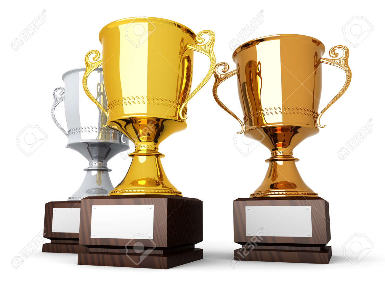 Three trophies with a blank plate for custom text  3D rendered Illustration Stock Illustration - 21723695