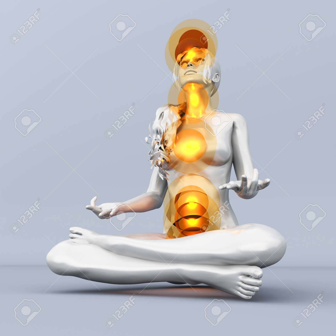 A woman performing a full chakra meditation. 3D rendered illustration. Stock Illustration - 23411077
