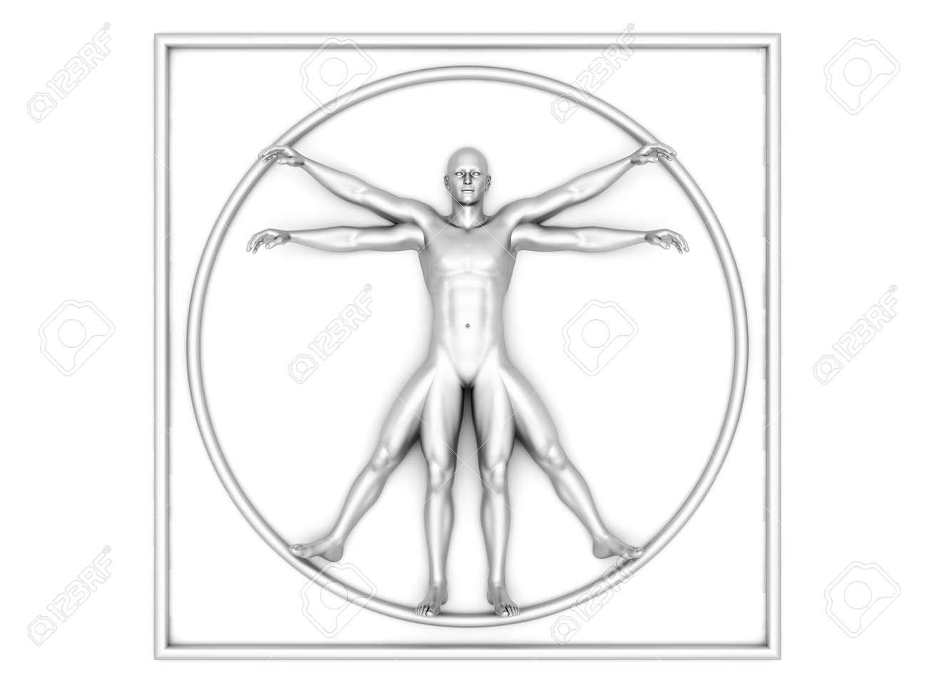 3D Gerendert Interpretation Des Berühmten Leonardo Da Vinci-Skizze ...