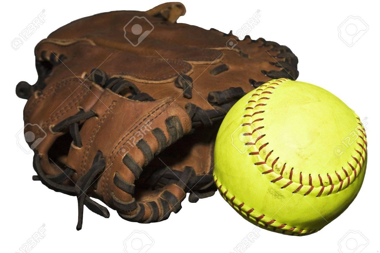 Yellow Softball Image With Loose Yellow Softball