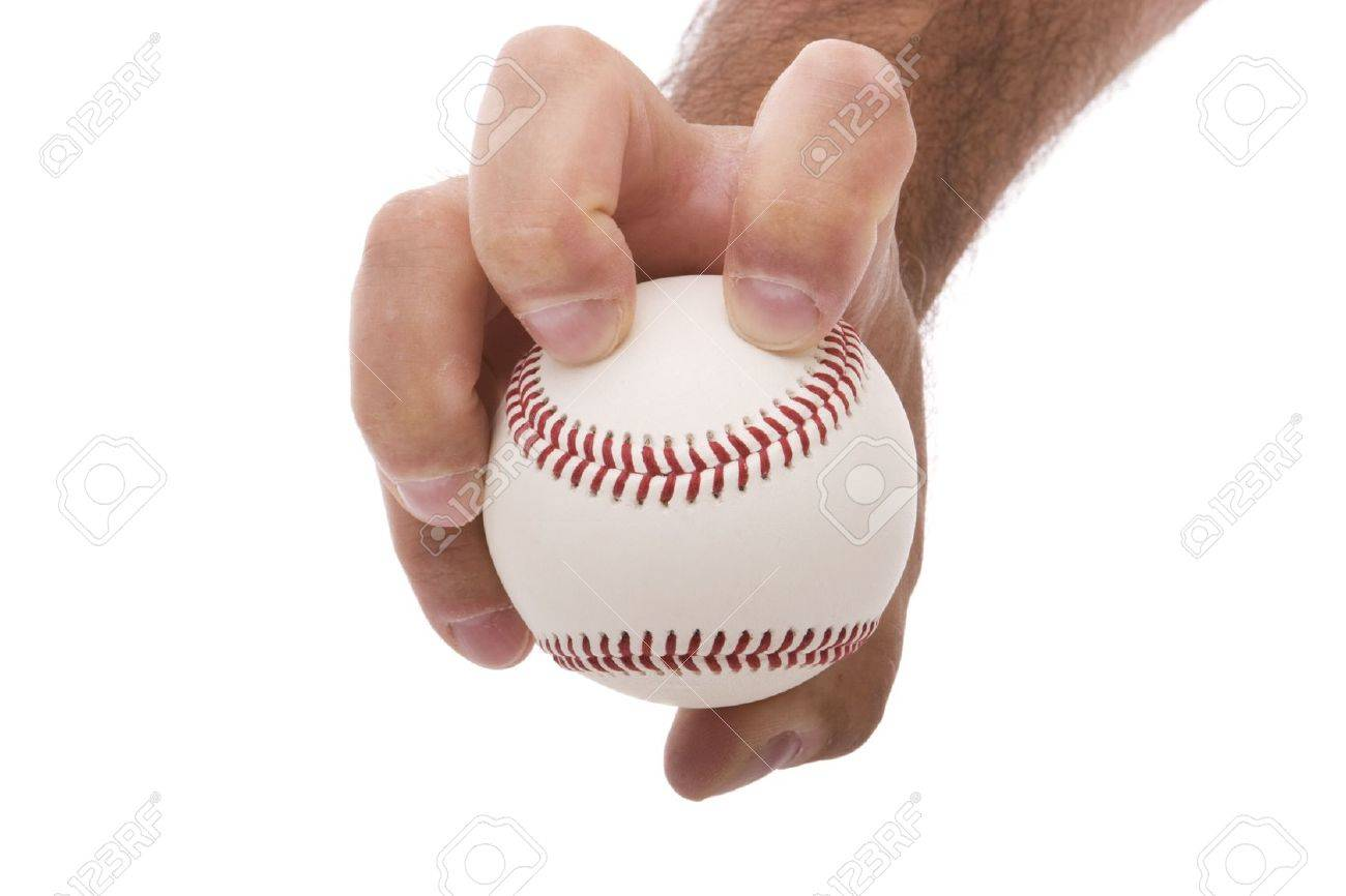 demonstrating the knuckleball baseball pitching grip Stock Photo - 11321880