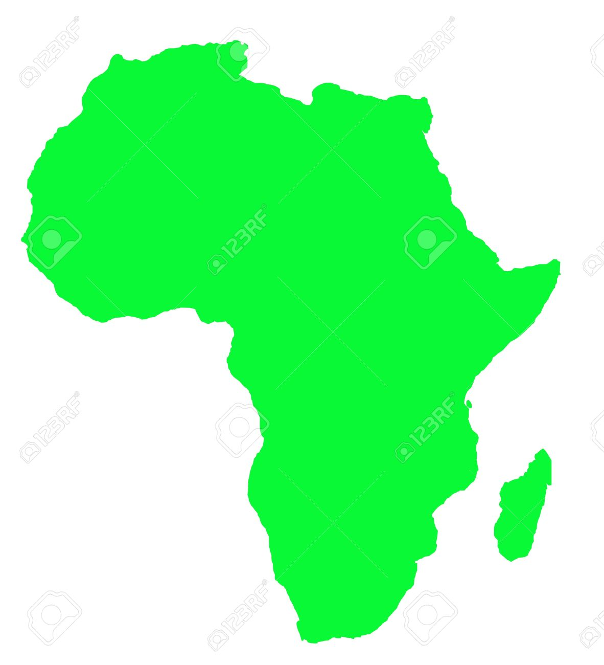 Outline Map Of Africa Continent In Green, Isolated On White