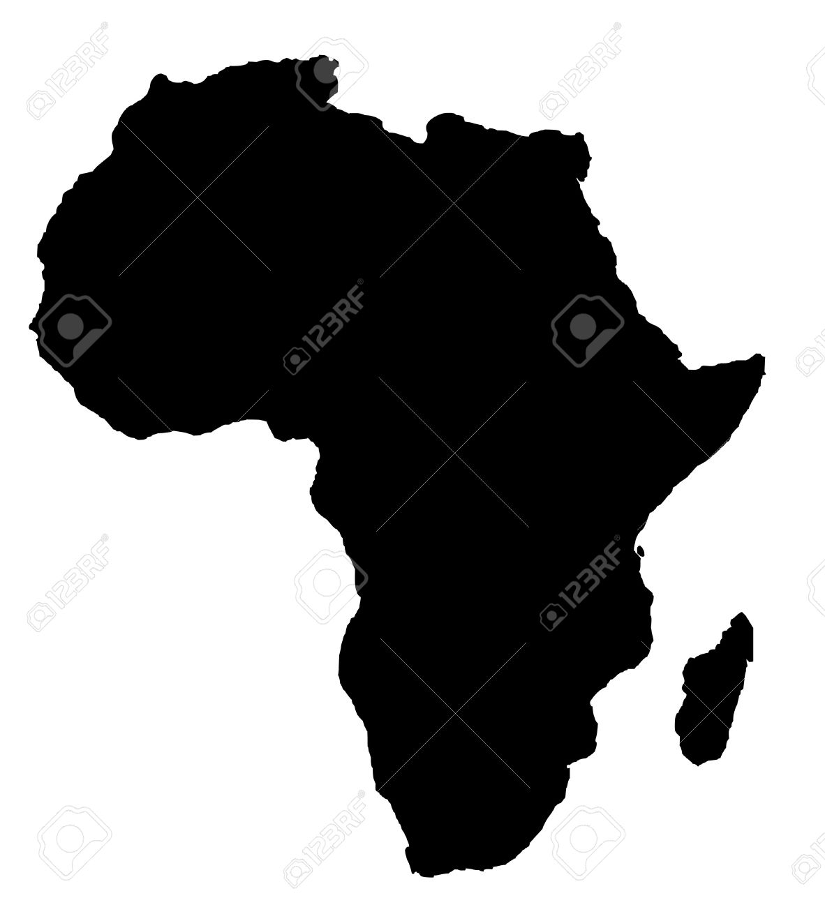 Outline Map Of Africa Continent In Black Isolated On White