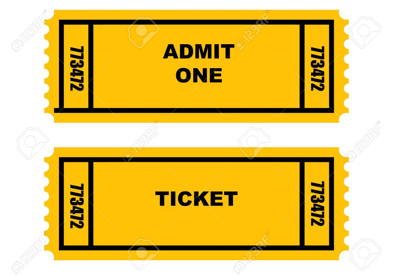 Illustration of two cinema or movie tickets, front and back, isolated on white background. Stock Photo - 4823616