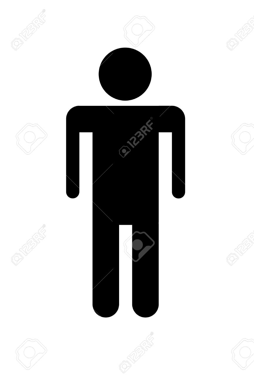 Symbol Of Male Person Seen On Toilet Doors In Black Silhouette