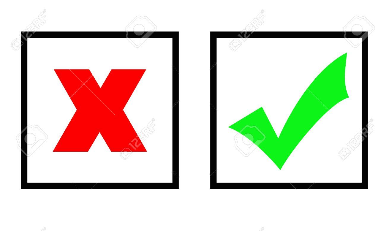 Grünes Häkchen Und Rotes Kreuz Zeichen In Zwei Kästen, Isolated ... | {Rotes kreuz symbol 76}